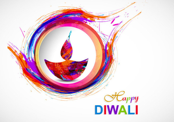 Colorful Diya With Watercolor Brush Stroke Design - vector gratuit #354775