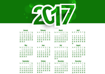 Green Colored Calendar Of Year 2017 - vector #354785 gratis