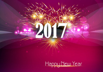 Happy New Year 2017 Banner With Fire Cracker - vector gratuit #354795