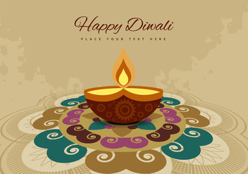 Rangoli And Diya On Grunge Background - Free vector #354845