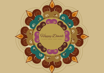 Rangoli With Decorated Diya - vector gratuit #354915