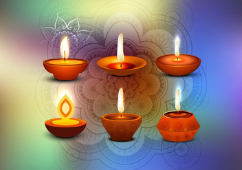Glowing Diya With Rangoli On Happy Diwali Card - vector gratuit #355025