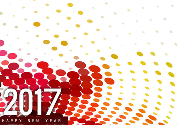 Halftone Happy New Year 2017 Card - Free vector #355135