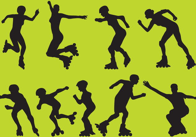 Roller Blade Vector Silhouettes - Free vector #355175