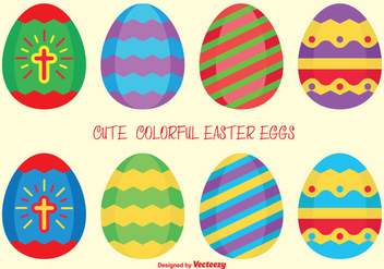 Colorful Vector Easter Eggs - vector gratuit #355205