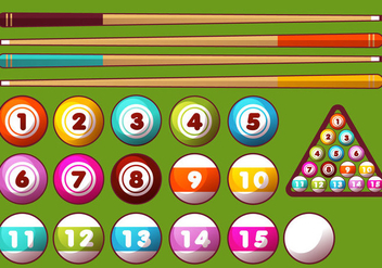 Pool Sticks and Balls Vector Set - Kostenloses vector #355355
