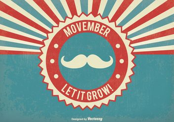 Retro Movember Vector Illustration - vector gratuit #355515