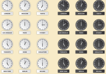 International Hour Clock Vectors - бесплатный vector #355895