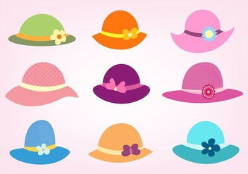 Free Vector Set Of Ladies Hats - бесплатный vector #355925