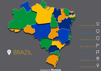 Colorful Brazil Vector Map - Kostenloses vector #356135