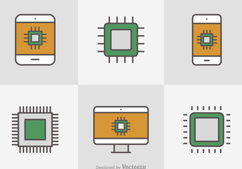 Free Flat Line Microchip Vector Icons - Kostenloses vector #356165