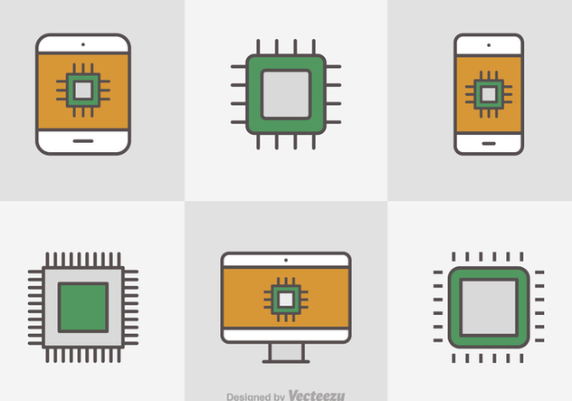 Free Flat Line Microchip Vector Icons - vector #356165 gratis
