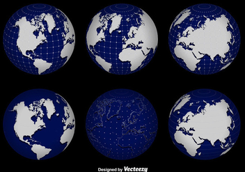 3d Globe Grid Vector Set - бесплатный vector #356235