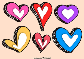 Hand Drawn Colorful Vector Hearts - vector gratuit #356255