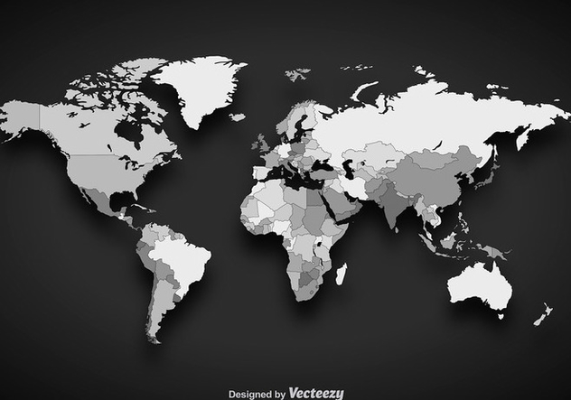 Grayscale Vector Worldmap - vector gratuit #356275