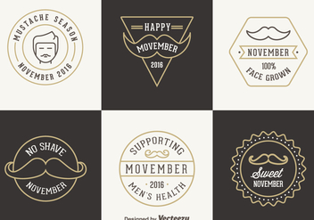 Free Movember Vector Badges - бесплатный vector #356305