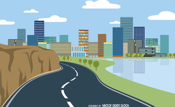 Highway cityscape flat style - vector #356435 gratis
