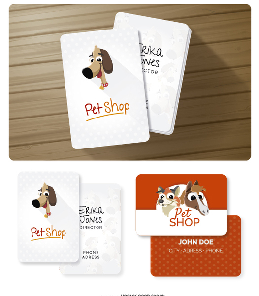 Funny animals business cards - Free vector #356505