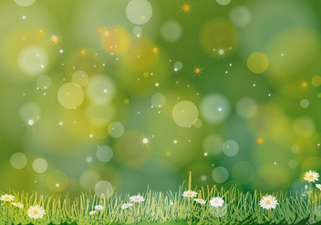 Abstract Green Vector Flowers Background - vector gratuit #356785