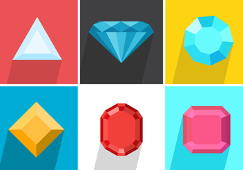 Set Of Colored Strass Vector Gems - vector gratuit #356895