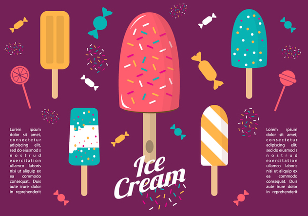 Free Colorful Flat Ice Cream Vector - vector #356945 gratis