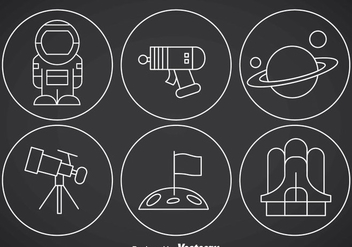 Space Thin Outline Icon Vectors - Kostenloses vector #356985