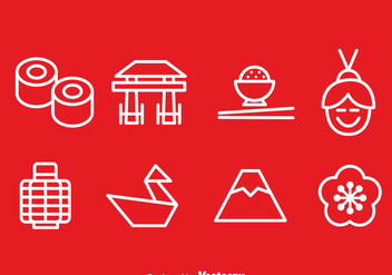 Japanese Outline Icons Vector - vector gratuit #357055