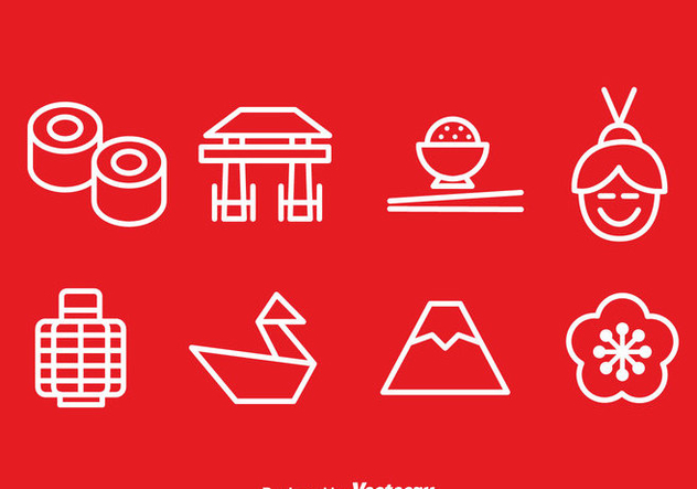 Japanese Outline Icons Vector - vector #357055 gratis