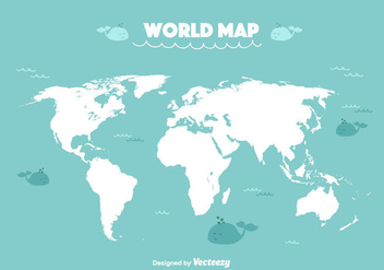 Funny World Map Vector - Free vector #357155