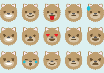 Pomeranian Dog Emoticon Vectors - Free vector #357195