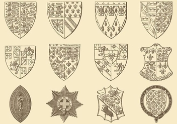 Old Style Drawing Heraldic And Emblem Vectors - vector gratuit #357215