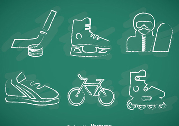 Sports Chalk Drawn Vector Icons - Free vector #357375