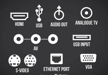 Connection Port Icons Vector - бесплатный vector #357405
