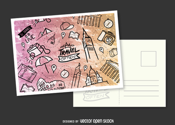Hand-drawn postcard mockup - Free vector #357435