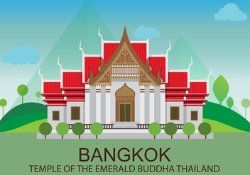 Temple in Bangkok Illustration - бесплатный vector #357475