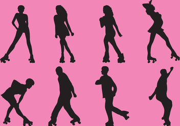 Roller Derby Silhouette Vectors - Free vector #357505