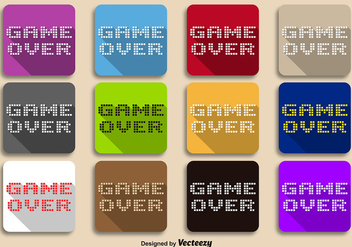 Vector Pixeled Game Over Message on Color Backgrounds - vector gratuit #357595