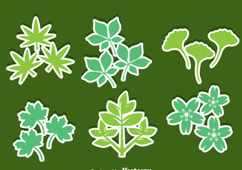 Herbs Leaves Icons Vector - vector gratuit #357645