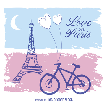 Love in Paris Card - vector gratuit #357665