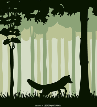 Fox in a forest landscape - vector gratuit #357675