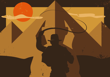 Indiana Jones Raiders Of The Lost Ark Minimalist Illustration Vector - Free vector #357915