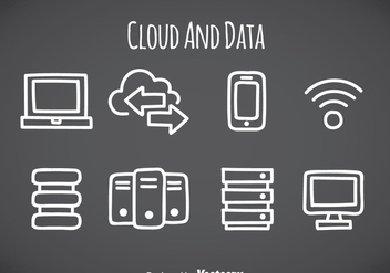 Cloud And Data Element Icons - vector gratuit #357925