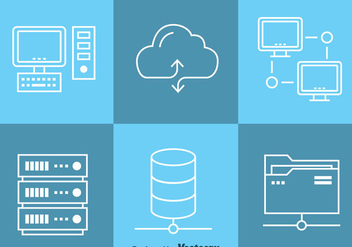 Cloud Data Computing Icons Vector - бесплатный vector #357935