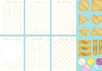 Golden Wedding Organizer Vectors - vector #358165 gratis