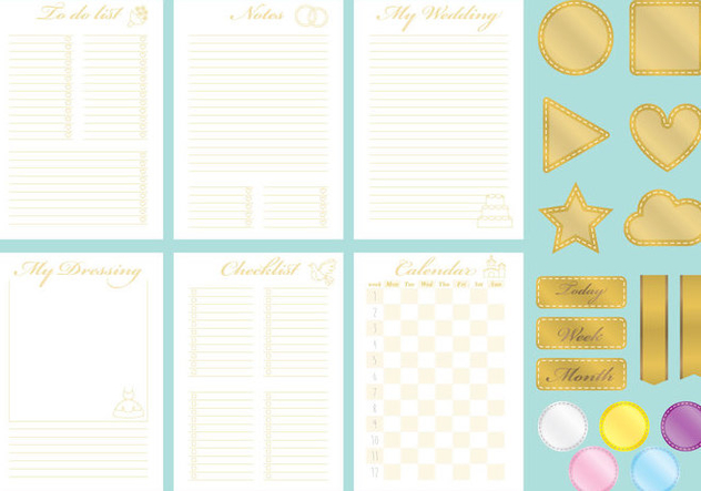 Golden Wedding Organizer Vectors - vector gratuit #358165