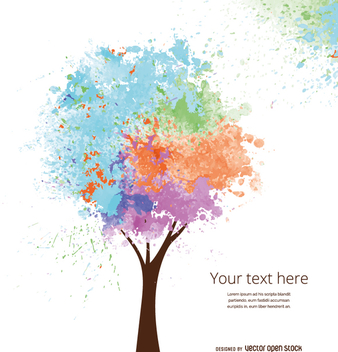 Soft-colored artistic tree - Free vector #358305