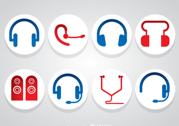 Headphone And Speaker Icons Vector - vector gratuit #358345