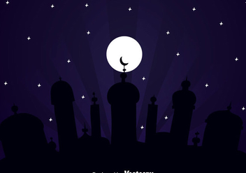 Big Mosque Arabian Night - vector gratuit #358355