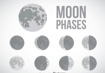 Moon Phase Gray Icons Vector - бесплатный vector #358385