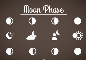 Moon Phase Icons Vector - бесплатный vector #358405